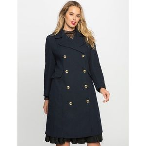 ELOQUII Double Breasted Coat — Navy